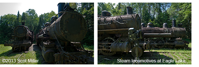 Photo  by Scot Miller of 2 old steam locomotives at Eagle Lake
