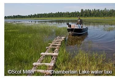 Photo by Scot Miller of skiff at Chamberlain Lake
